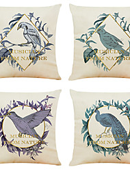 cheap -Set of 4 Classic Bird  Linen Square Decorative Throw Pillow Cases Sofa Cushion Covers 18x18