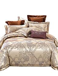 Недорогие -Каки блестящий 250 т роскошный отель премиум класса из жаккарда из чистого хлопка сантан из четырех частей постельного белья