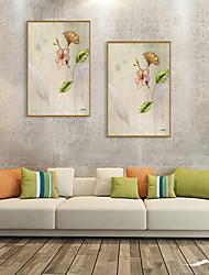 cheap -Framed Art Print Framed Set - Abstract Floral / Botanical PS Oil Painting Wall Art