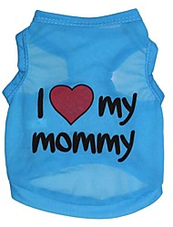 cheap -Dog Vest Puppy Clothes Heart Quotes & Sayings Love Casual / Daily Simple Style Dog Clothes Puppy Clothes Dog Outfits Blue Pink Costume for Girl and Boy Dog Polyester XS S M L