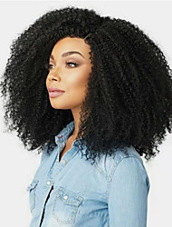 cheap -Human Hair Full Lace Wig Side Part Free Part style Brazilian Hair Afro Curly Black Wig 130% Density Women Women's Long Human Hair Lace Wig Clytie