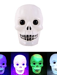 cheap -Halloween Colorful Color Changing Flash LED Skull Night Light Flash skull Grimace LED flashlight Lamp Decoration Gift Favor 1pack