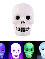 cheap -Halloween Colorful Color Changing Flash LED Skull Night Light Flash skull Grimace LED flashlight Lamp Decoration Gift Favor 1pack