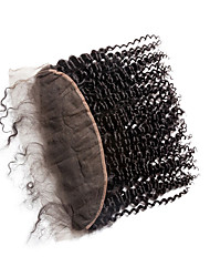 cheap -Clytie Brazilian Hair 4x13 Closure Curly Free Part Middle Part Swiss Lace Human Hair Women's Women Date / Black