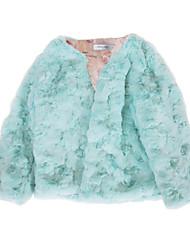 cheap -Kids Girls' Active Basic Print Regular Faux Fur Jacket & Coat Light Blue