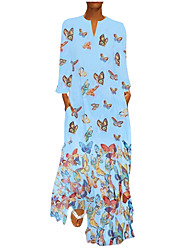 cheap -Women's Basic Boho Abaya Jalabiya Dress - Animal Tie Dye Butterfly, Print White Blushing Pink Yellow S M L XL