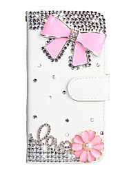 cheap -Case For Nokia Nokia 7.1 / Nokia 5.1 / Nokia 4.2 Wallet / Card Holder / Rhinestone Full Body Cases Solid Colored PU Leather