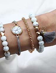 cheap -4pcs Women's Bead Bracelet Vintage Bracelet Earrings / Bracelet Layered Heart Weave Vintage Trendy Ethnic Fashion Boho Cord Bracelet Jewelry Gold For Daily / Pendant Bracelet