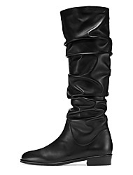 cheap -Women's Boots Knee High Boots Flat Heel Closed Toe Faux Leather Knee High Boots British / Minimalism Winter Black / Party & Evening