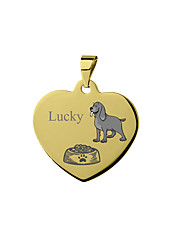 cheap -Personalized Customized Basset Hound Dog Tags Classic Gift Daily Heart Shape 1pcs Silver Blushing Pink Yellow / Laser Engraving