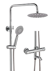 cheap -High Quality Chrome Polished Bathroom 20cm Rainfall Thermostatic Shower Faucet Set Three Methods Shower Function with Handheld Head YC1061