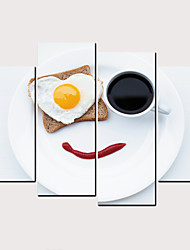 Недорогие -С картинкой Роликовые холсты - Кофе Продукты питания Классика Modern 4 панели Репродукции