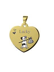 cheap -Personalized Customized Dalmatian Dog Tags Classic Gift Daily Heart Shape 1pcs Silver Blushing Pink Yellow / Laser Engraving