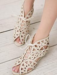 cheap -Women's Sandals Wedge Heel Peep Toe PU Summer Black / White / Yellow