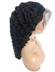 Недорогие -человеческие волосы Remy Лента спереди Парик стиль Бразильские волосы Глубокий курчавый Черный Парик 130% Плотность волос Жен. Короткие Парики из натуральных волос на кружевной основе beikashang