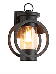 cheap -Wall Lamp Antique Wall Lantern Waterproof Black Iron American Outdoor Wall Sconce for Garden Gate Exterior Wall Glass Shade