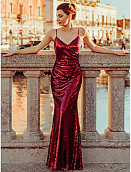 cheap -A-Line Spaghetti Strap Floor Length Polyester / Sequined Sparkle & Shine Formal Evening Dress 2020 with Sequin
