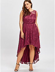 cheap -Women's Asymmetrical Purple Red Dress Elegant Trumpet / Mermaid Solid Colored Lace S M Slim