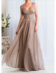 cheap -A-Line Plunging Neck Floor Length Chiffon Open Back Formal Evening Dress with Pleats / Lace Insert by LAN TING Express