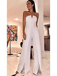 cheap -Women's Street chic Off Shoulder White Wide Leg Jumpsuit Onesie, Solid Colored S M L