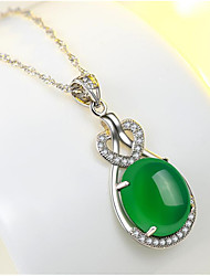 cheap -Women's Green White Onyx Pendant Necklace Simulated Precious Teardrop Fashion Brass Gold Plated White Light Green 45+5 cm Necklace Jewelry 1pc For Gift Daily