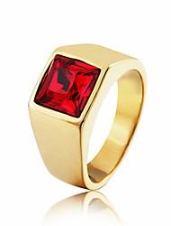 Недорогие -Муж. Кольцо 1шт Красный Синий Темно-красный Титановая сталь Круглый Винтаж Классический Мода Повседневные Бижутерия