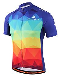 cheap -Miloto Men's Women's Short Sleeve Cycling Jersey Purple Yellow Blue+Red Gradient Plus Size Bike Shirt Sweatshirt Jersey Breathable Quick Dry Reflective Strips Sports 100% Polyester Mountain Bike MTB