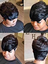 cheap -Human Hair Wig Short Straight Natural Wave Bob Pixie Cut Layered Haircut Asymmetrical Black Life Easy dressing Comfortable Capless Women's All Medium Auburn Natural Black 8 inch / Natural Hairline