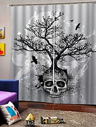 abordables -décoration de la maison luxe 3d impression numérique rideaux arbre de crâne thème halloween thème personnalisé tige définie rideau