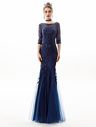 cheap -Mermaid / Trumpet Jewel Neck Floor Length Lace / Tulle Sparkle / Blue Engagement / Formal Evening Dress with Sequin / Appliques 2020