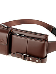 cheap -Men's Zipper PU Leather Fanny Pack Bum Bag Solid Color Black / Brown / Fall & Winter