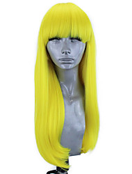 cheap -Synthetic Lace Front Wig Straight Natural Straight Free Part Neat Bang Lace Front Wig Blonde Long Yellow Synthetic Hair 18-26 inch Women's Soft Elastic Women Blonde / Glueless