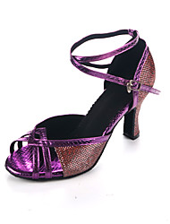 cheap -Women's Latin Shoes PU Cross Strap Heel Cuban Heel Customizable Dance Shoes Dark Purple / Gray / Performance / Leather / Practice