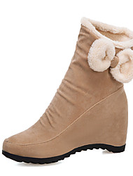 cheap -Women's Boots Hidden Heel Round Toe Bowknot Suede Booties / Ankle Boots Casual Fall & Winter Black / Almond / Brown