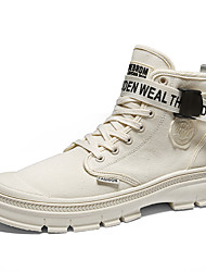 cheap -Men's Combat Boots Canvas Fall & Winter Vintage / Casual Boots Breathable Booties / Ankle Boots Black / Beige / Khaki / Outdoor