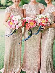 cheap -Sheath / Column Bateau Neck Floor Length Sequined Bridesmaid Dress with Sequin / Sparkle & Shine
