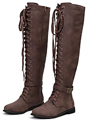 cheap -Women's Boots Knee High Boots Chunky Heel Round Toe Suede / Canvas Knee High Boots Winter Black / Brown / Coffee