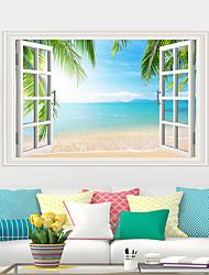 abordables -Autocollants muraux décoratifs - Autocollants avion Paysage / A fleurs / Botanique Salle de séjour / Chambre à coucher / Cuisine / Repositionable