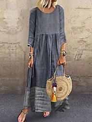 cheap -Women's Plus Size Swing Dress Maxi long Dress - 3/4 Length Sleeve Color Block Yellow Blushing Pink Green Gray S M L XL XXL XXXL XXXXL