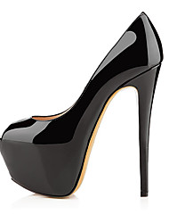 cheap -Women's Heels Spring / Summer Stiletto Heel Peep Toe Classic Sexy Minimalism Party & Evening Solid Colored Patent Leather Nude / Black