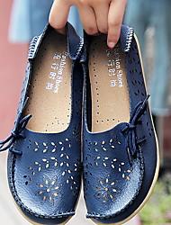 cheap -Women's Loafers & Slip-Ons Flat Heel Round Toe Leather Summer Black / Green / Light Blue