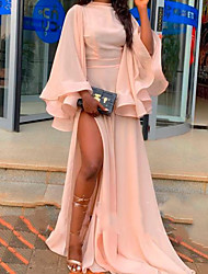 cheap -A-Line Empire Pink Party Wear Formal Evening Dress High Neck Long Sleeve Sweep / Brush Train Chiffon with Ruffles Split Front 2020