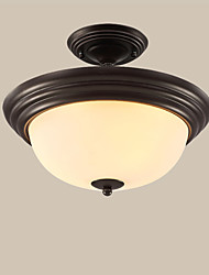 cheap -3-Light Ceiling Light American Country Pendant Light White Glass Shade Antique 3 Lights Pendant Lamps Semi Flush Mount for Porch / Bedroom / Study Room