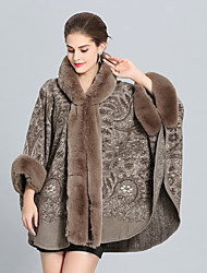 cheap -3/4 Length Sleeve Coats / Jackets Faux Fur / Imitation Cashmere Wedding / Party / Evening Women's Wrap With Patterned / Splicing