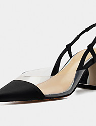 cheap -Women's Sandals Chunky Heel Pointed Toe Satin / PVC(Polyvinyl chloride) Business / Minimalism Spring & Summer Black / Color Block