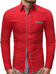 cheap -Men's Daily Basic Shirt - Solid Colored Blue / Red, Lace up Light Blue