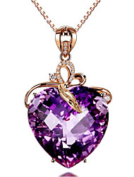 cheap -Women's Crystal Pendant Necklace Classic Heart Fashion Gold Plated Purple 45+5 cm Necklace Jewelry 1pc For Gift Daily