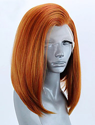 cheap -Synthetic Lace Front Wig Straight Bob Short Bob Lace Front Wig Blonde Short Blonde Synthetic Hair 8-12 inch Women's Soft Elastic Women Blonde / Glueless