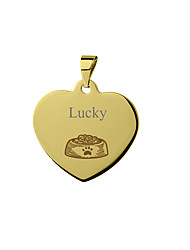 cheap -Personalized Customized Dog Tags Classic Gift Daily Heart Shape 1pcs Silver Blushing Pink Yellow / Laser Engraving
