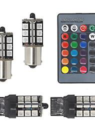 Недорогие -2 шт. RGB Bay15D (1157) P21W 27SMD 5050led лампы противотуманные фары беспроводного управления дневного света Drl фонари резервная лампа